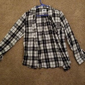 Plaid Black and White button up